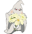 Ghost and bunch of flowers cartoon vector image vector image