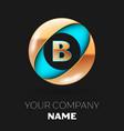 golden letter b logo symbol in blue-golden circle vector image