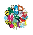 Graffiti font color composition vector image vector image