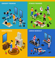 gym concept icons set vector image vector image