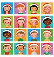 Icon set portraits of boys and girls in the Santa vector image