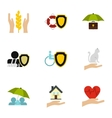 Insurance icons set flat style vector image vector image
