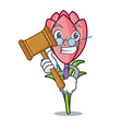 judge crocus flower mascot cartoon vector image vector image