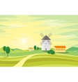 Landscape Rural with Traditional Old Windmill vector image vector image