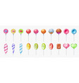 lollipop realistic round and spiral sweet lolly vector image