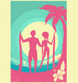 lovely couple surfers and blue sea waves on vector image vector image
