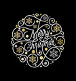 merry christmas calligraphy lettering and golden vector image vector image