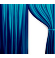 Naturalistic image of curtain open curtains blue vector image