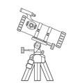 outline reflecting telescope vector image