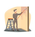 painter painting wall with paint roller bucket vector image