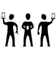 phone three silhouette symbols vector image vector image