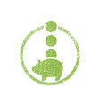 Piggy bank money icon with hand drawn lines vector image