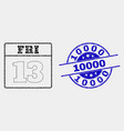 pixel 13th friday calendar page icon and vector image vector image
