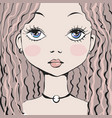 portrait beautiful girl hand drawn in sketch vector image