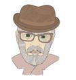 portrait of a grandpa with a mustache zen tangle vector image vector image