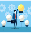professional businessman with bulb idea strategy vector image