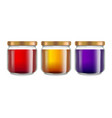 realistic 3d detailed honey jar mockup set vector image vector image