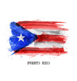 realistic watercolor painting flag puerto rico vector image vector image