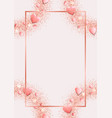 romantic pink template with top view hearts vector image vector image