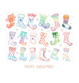 set doodle colored christmas gift socks on vector image vector image
