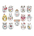 set with 14 animals in a shape of eggs these cute vector image vector image