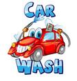sign car wash character cartoon vector image vector image