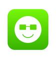 smiling emoticon digital green vector image