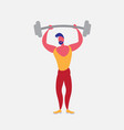 sportsman athlete holding barbell strong male vector image vector image