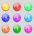 Tennis player icon sign symbol on nine wavy vector image vector image