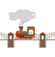 Train riding over the bridge vector image
