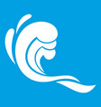 water wave icon white vector image vector image