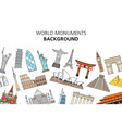 world monuments background vector image vector image