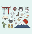 set of japanese symbols vector image