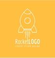 White outline rocket icon logo vector image