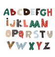 abstract decorative alphabet creative kids font vector image vector image