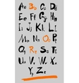 alphabet and numbers hand drawn in vector image vector image