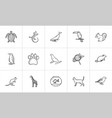 animals hand drawn sketch icon set vector image