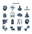 biohacking concept silhouette icons set in flat vector image vector image