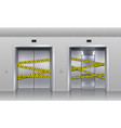 broken elevators closed for repair or maintenance vector image vector image