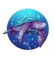 Cartoon image of a sea turtle vector image vector image
