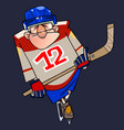 cartoon man in hockey form on skates with a stick vector image vector image