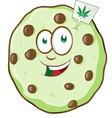 cartoon mascot cookie with marijuana flavor vector image vector image
