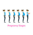 cartoon pregnancy stages and birth set vector image vector image
