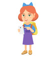 caucasian girl with backpack pointing at cellphone vector image vector image