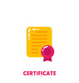 certificate icon on white in flat style vector image