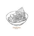 chashumen ramen noodle hand draw sketch vector image