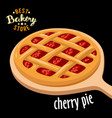 cherry pie mesh on the board baked bread vector image vector image