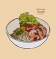 chinese style bbq pork with egg noodle hand draw