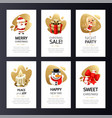 christmas greeting cards set with gold vector image