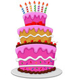 colorful birthday cake with candles isolated vector image vector image